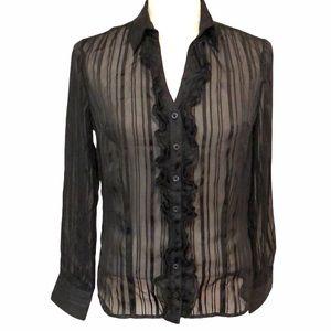 George ruffle sheer blouse